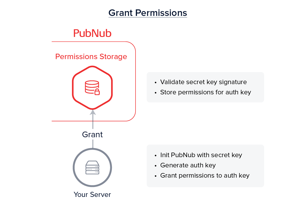 Your Server (grant permissions) → PN Network (store permissions